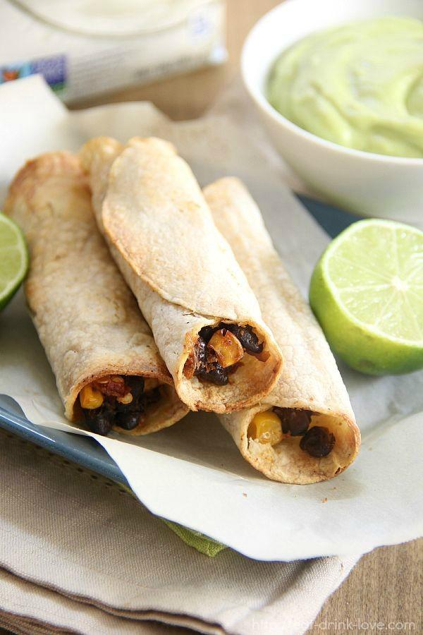 Corn & Black Bean Taquitos with Creamy Avocado Dip