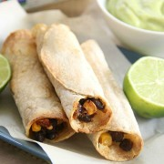orn & Black Bean Taquitos with Creamy Avocado Dip