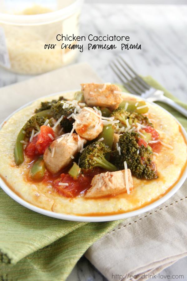 Chicken Cacciatore over Creamy Parmesan Polenta