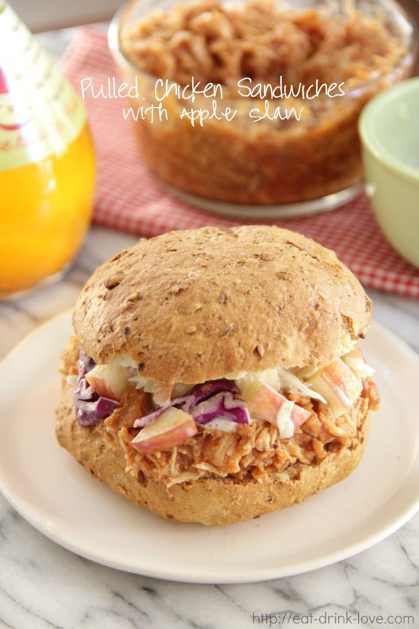 Pulled Chicken Sandwiches with Apple Slaw, Slow Cooker
