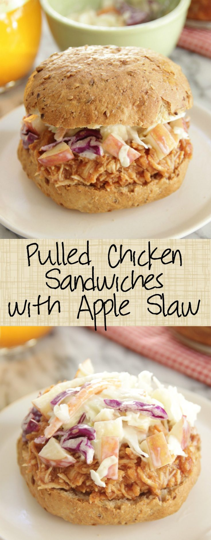 Slow Cooker Pulled Chicken Sandwiches with Apple Slaw