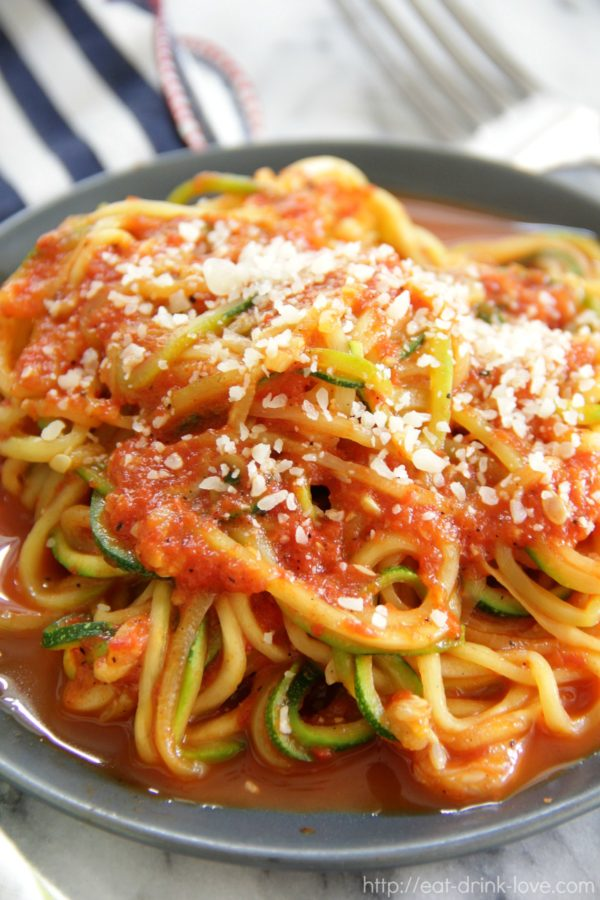 Roasted Red Pepper Zucchini Noodles