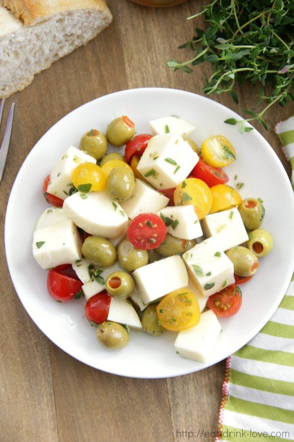 Marinated Olives, Mozzarella, and Tomato Salad