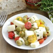 Marinated Olives, Mozzarella, and Tomato Salad
