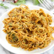 Sweet Potato Noodles with Arugula Pesto