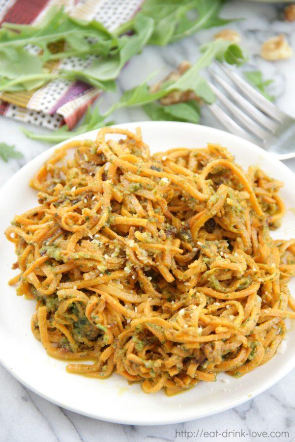 Sweet Potato Noodles with Arugula Pesto