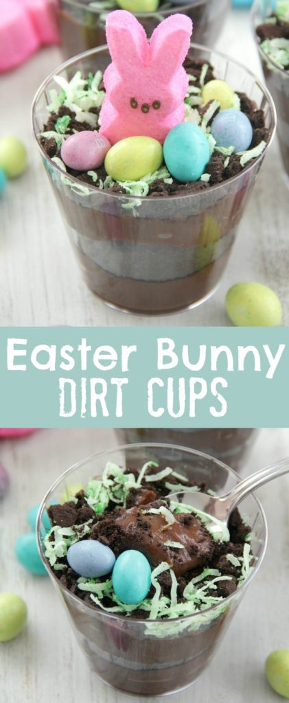 Easter Bunny Dirt Cups, Pudding, Chocolate
