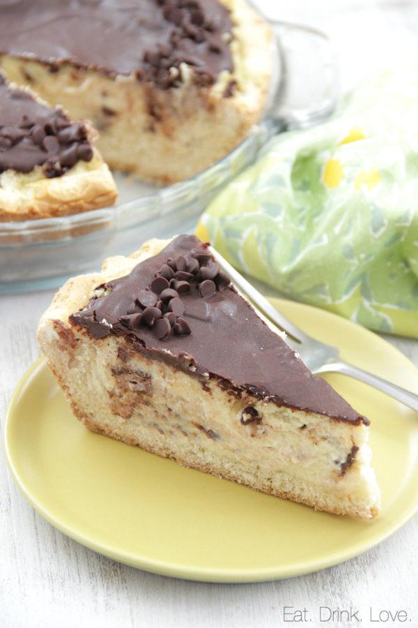 Ricotta Pie, Italian, chocolate chips, cheesecake