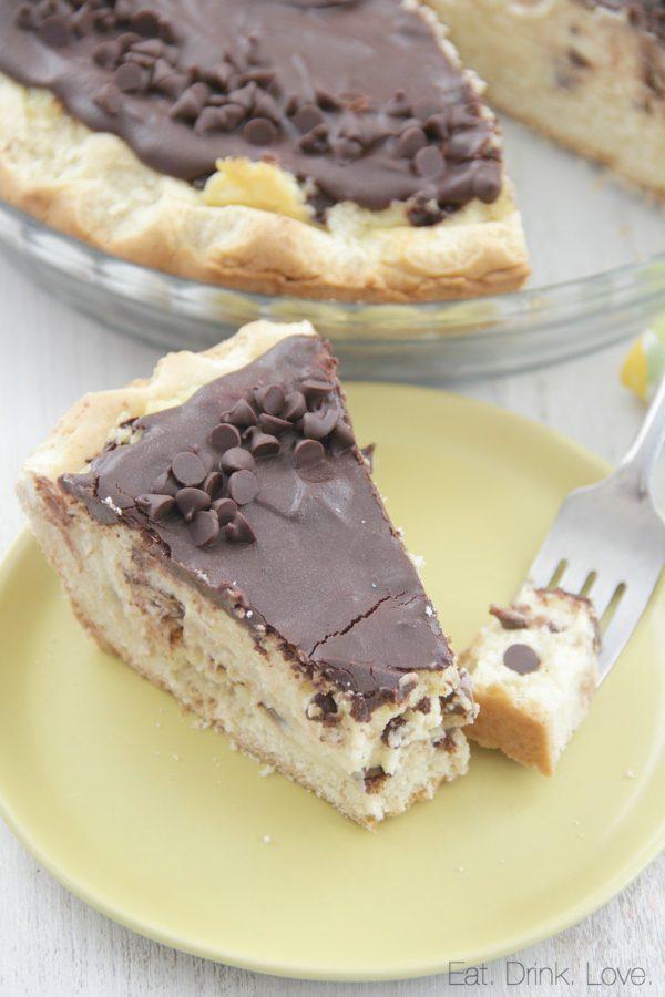 Ricotta Pie, cheesecake, dessert, chocolate chip, Italian