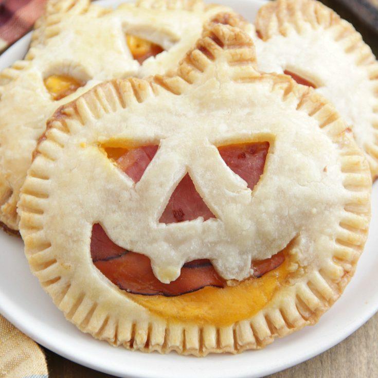 Jack-o'-Lantern Ham and Cheese Pies