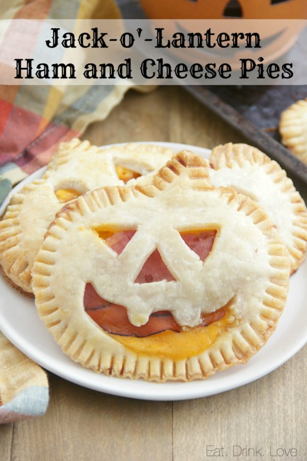 Jack-o'-Lantern Ham and Cheese Pies