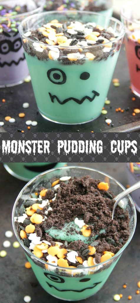 Monster Pudding Cups, Halloween