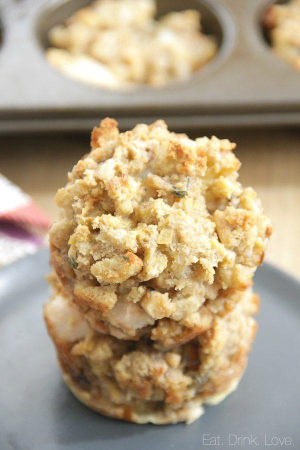 Pear Walnut Stuffing Muffins