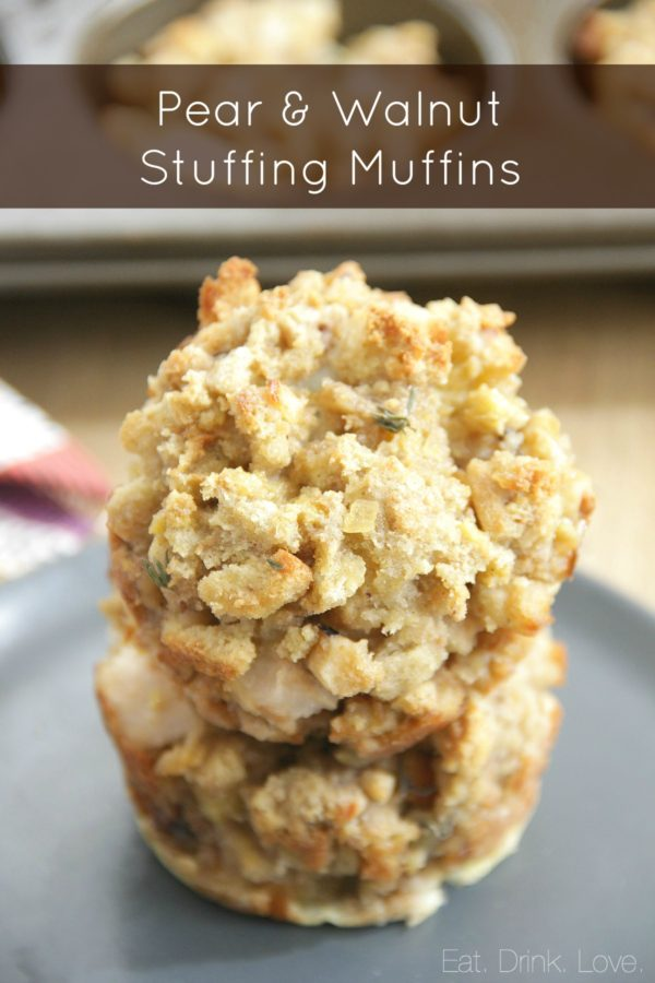 Pear Walnut Stuffing Muffins