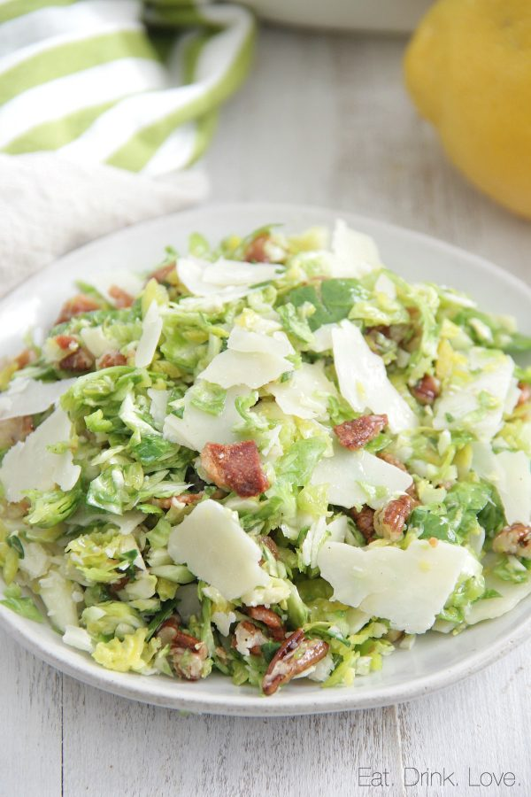 Shaved Brussels Sprouts Salad with Bacon and Parmesan