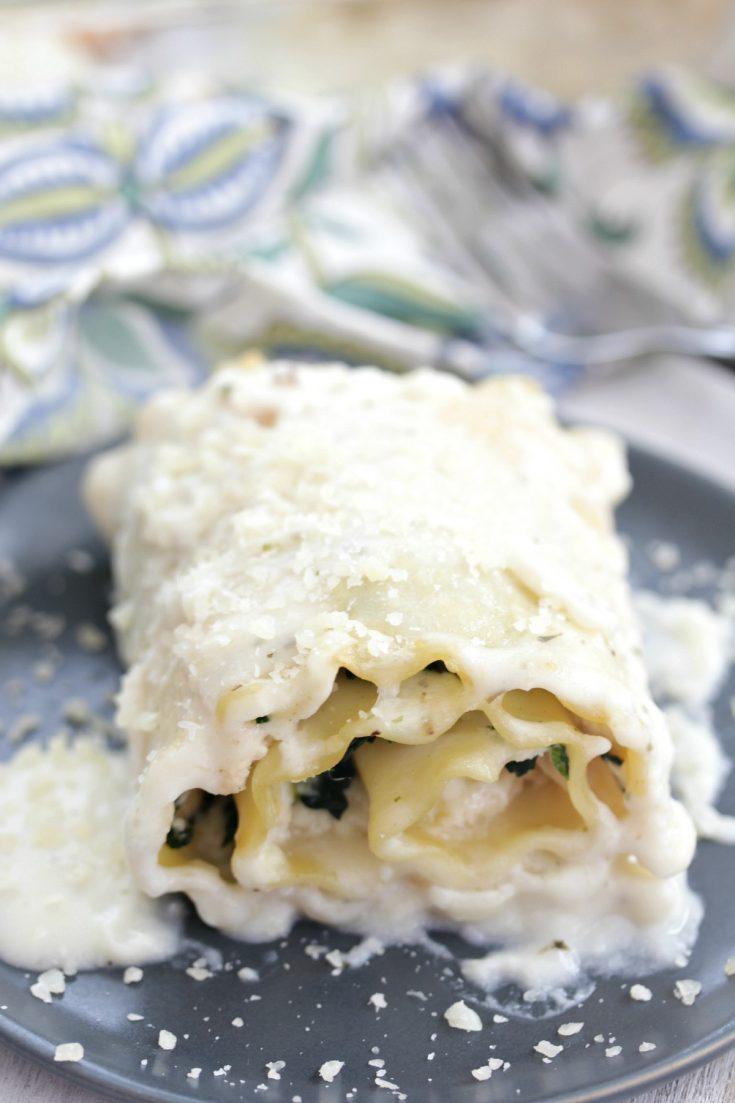 Chicken Florentine Lasagna Rolls