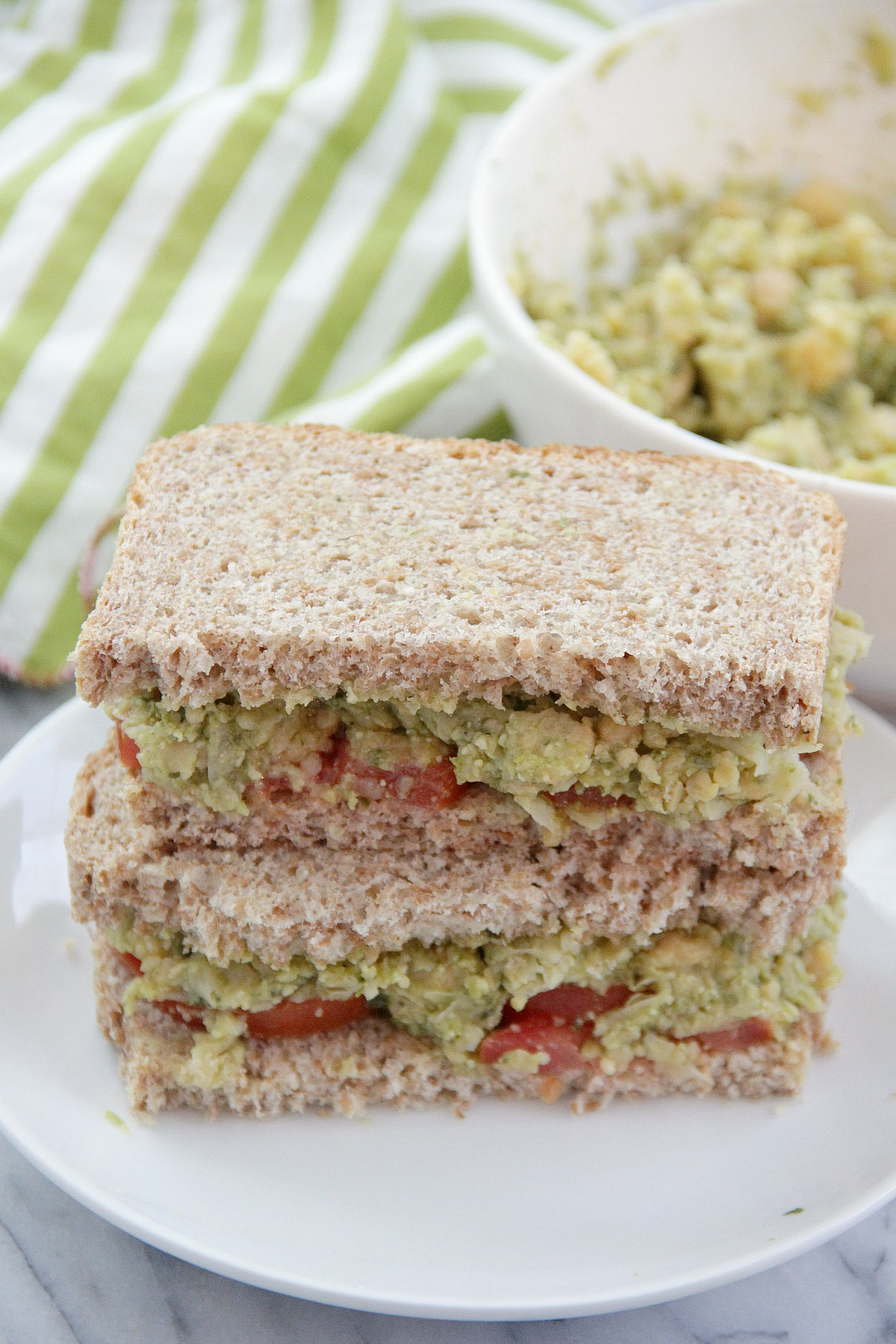 Smashed Chickpea Avocado and Pesto Sandwiches