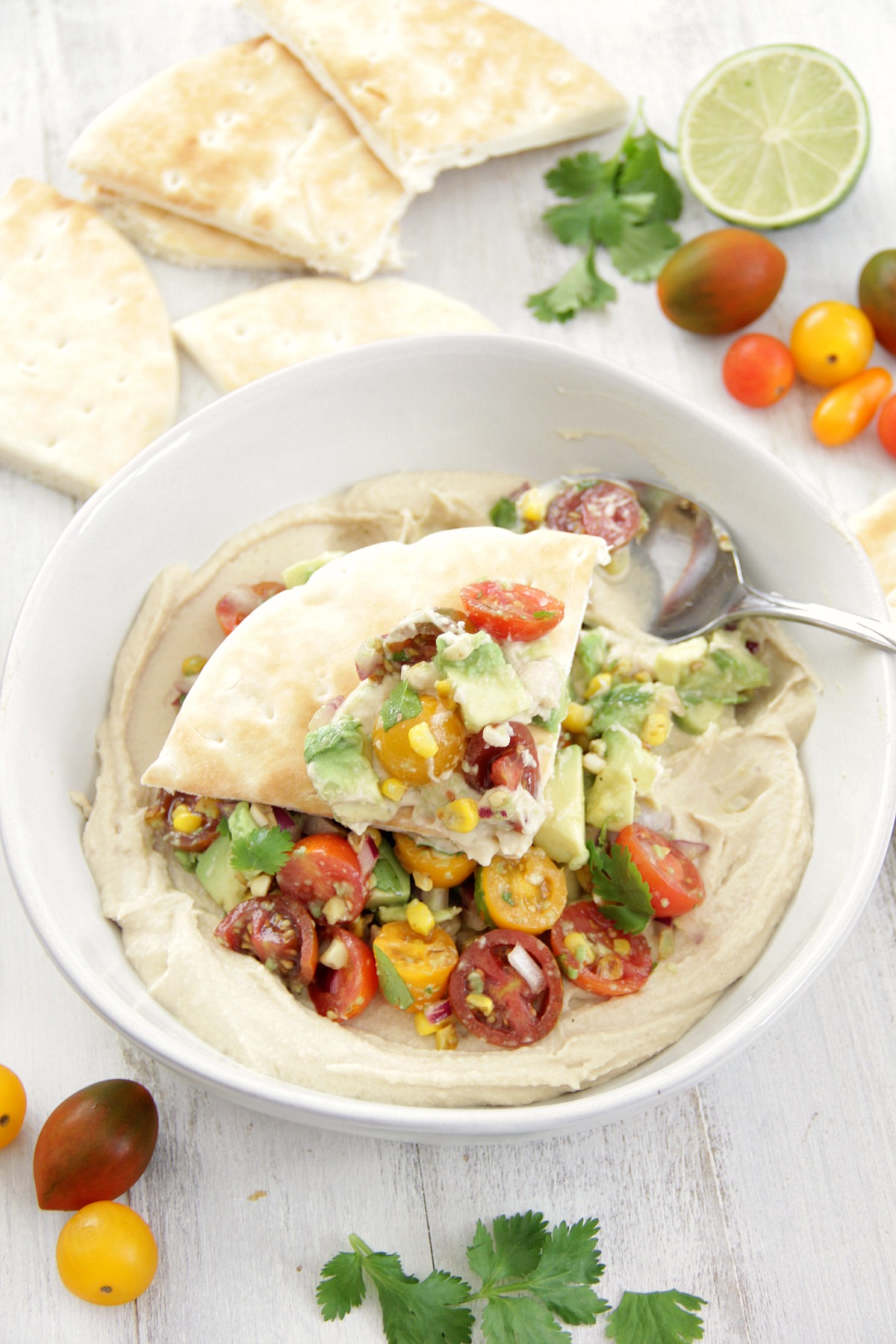 Hummus Topped with Tomato and Corn Salsa