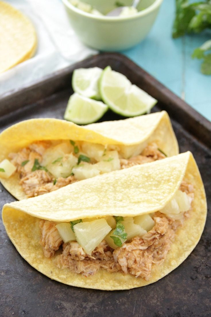 Slow Cooker Pineapple Chipotle Chicken Tacos