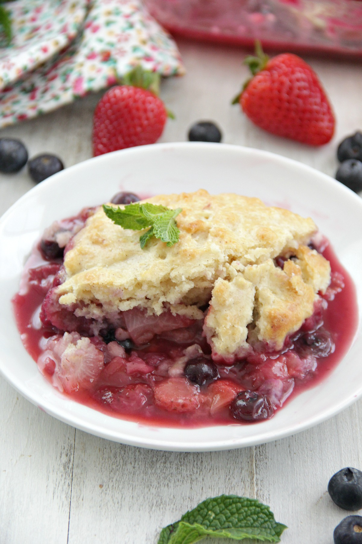 Strawberry Blueberry Cobbler