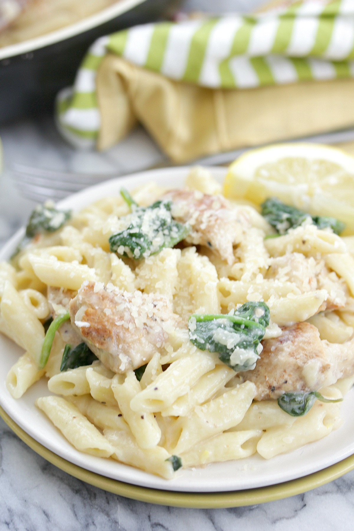Lemony Chicken and Spinach Pasta