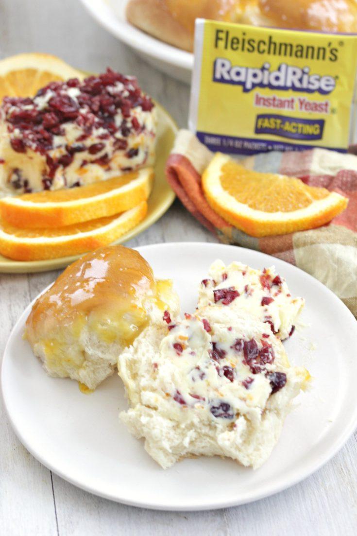 Orange Glazed Dinner Rolls with Cranberry Orange Butter