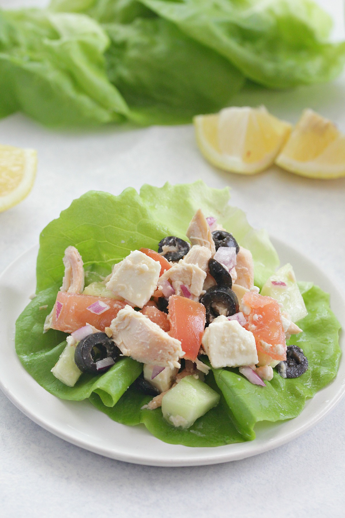 Greek Chicken Lettuce Wraps