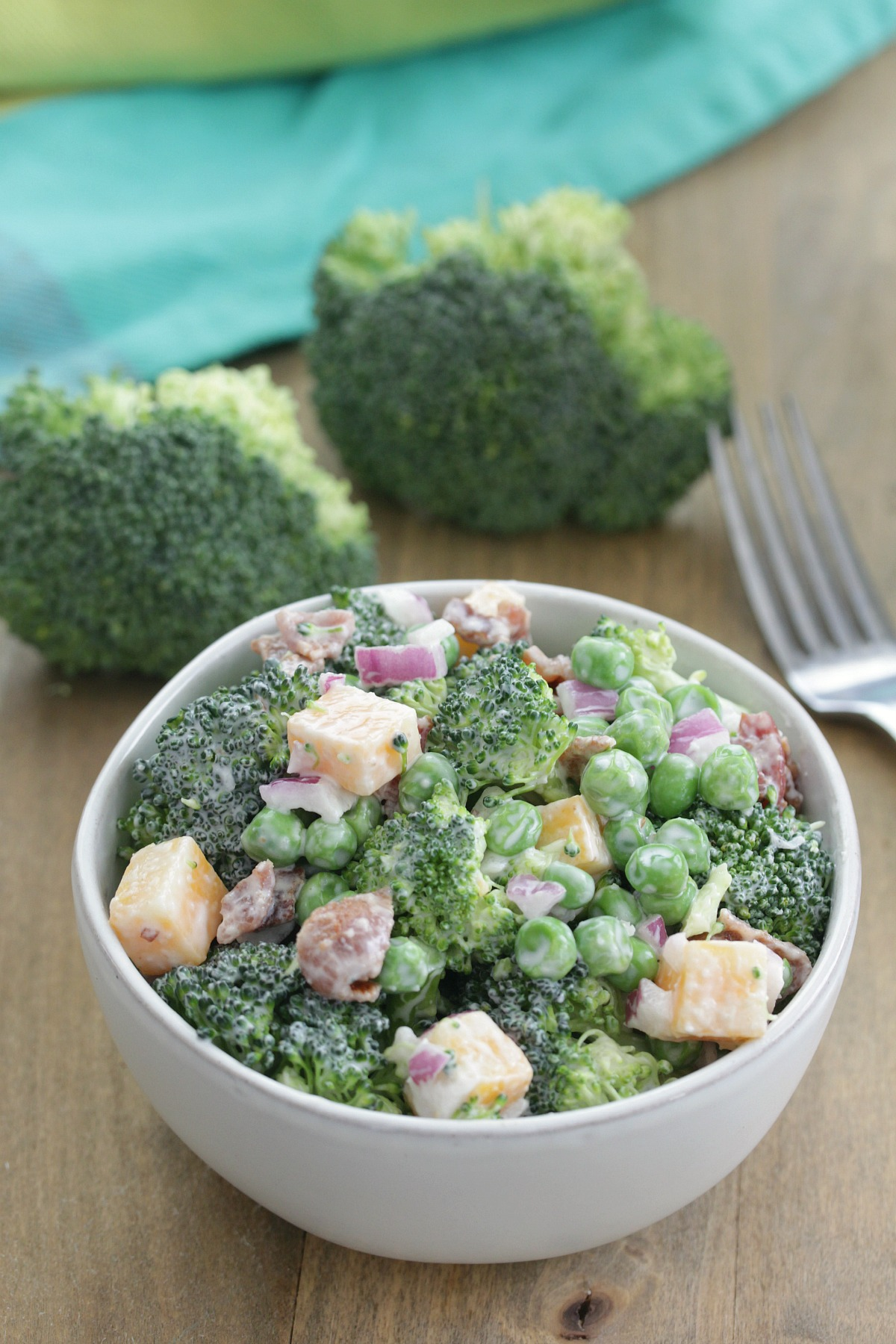 The Best Broccoli Salad - bowl of broccoli salad