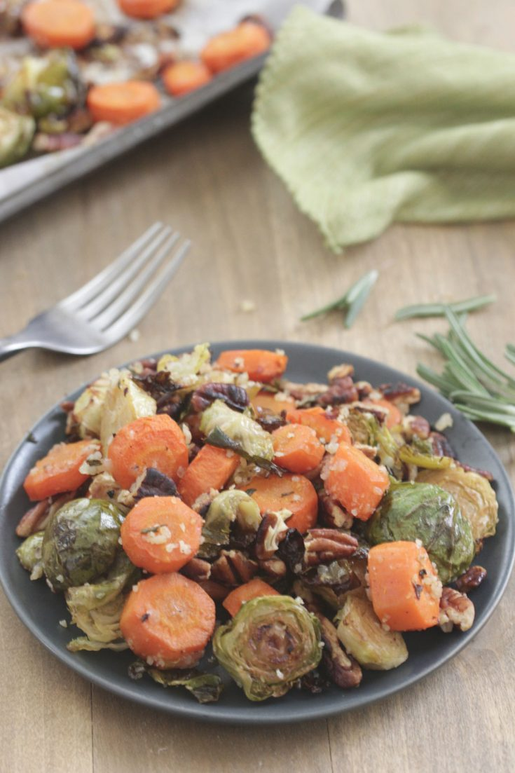 Balsamic Roasted Brussels and Carrots