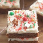 Gingerbread Bars with cream chese frosting and Christmas sprinkles