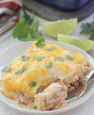 White Chicken Enchilada Casserole