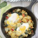 Egg and Potato Breakfast Skillet overhead shot in cast iron pan