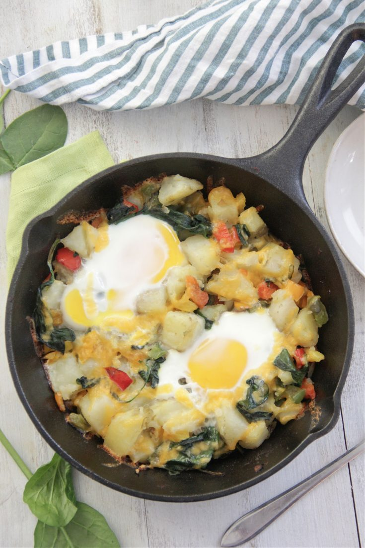 Egg and Potato Breakfast Skillet overhead shot in cast iron pan