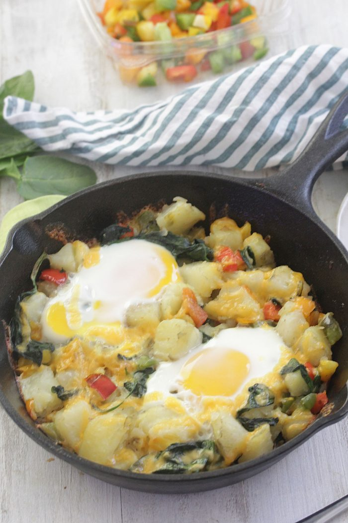 Egg and Potato Breakfast Skillet in a cast iron pan