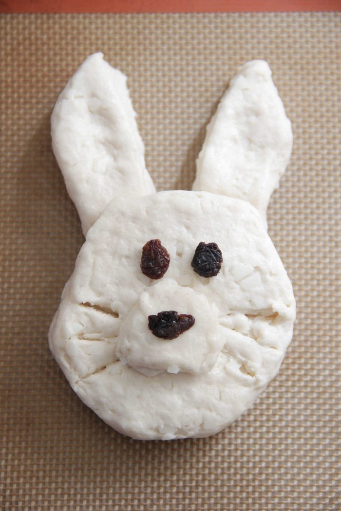 Bunny Biscuit on a baking sheet unbaked