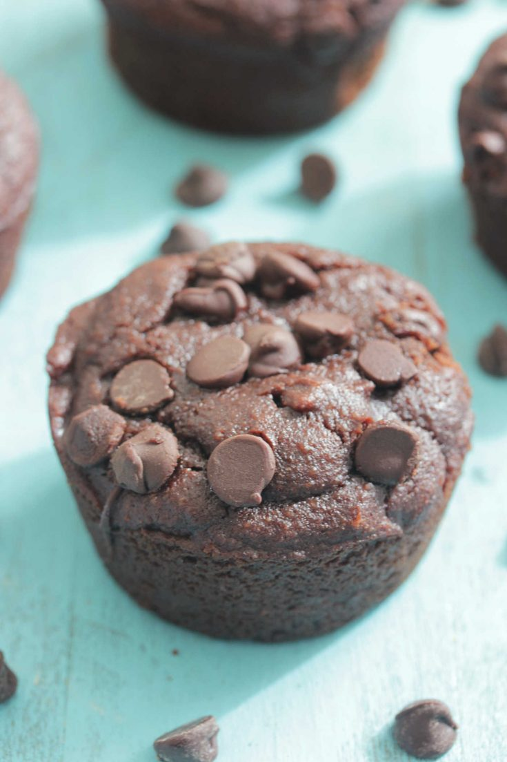 Chocolate Protein Blender Muffins on a turquoise wooden board
