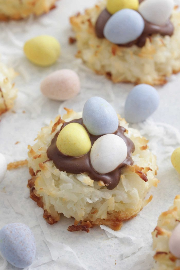 Coconut Macaroon Nests with chocolate eggs and shredded coconut