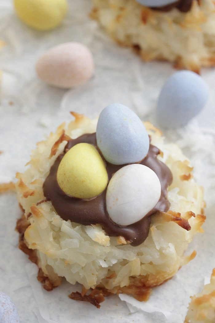 Close up shot of Coconut Macaroon Nests with chocolate eggs and shredded coconut