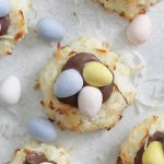 Overhead shot of Coconut Macaroon Nests with chocolate eggs on top