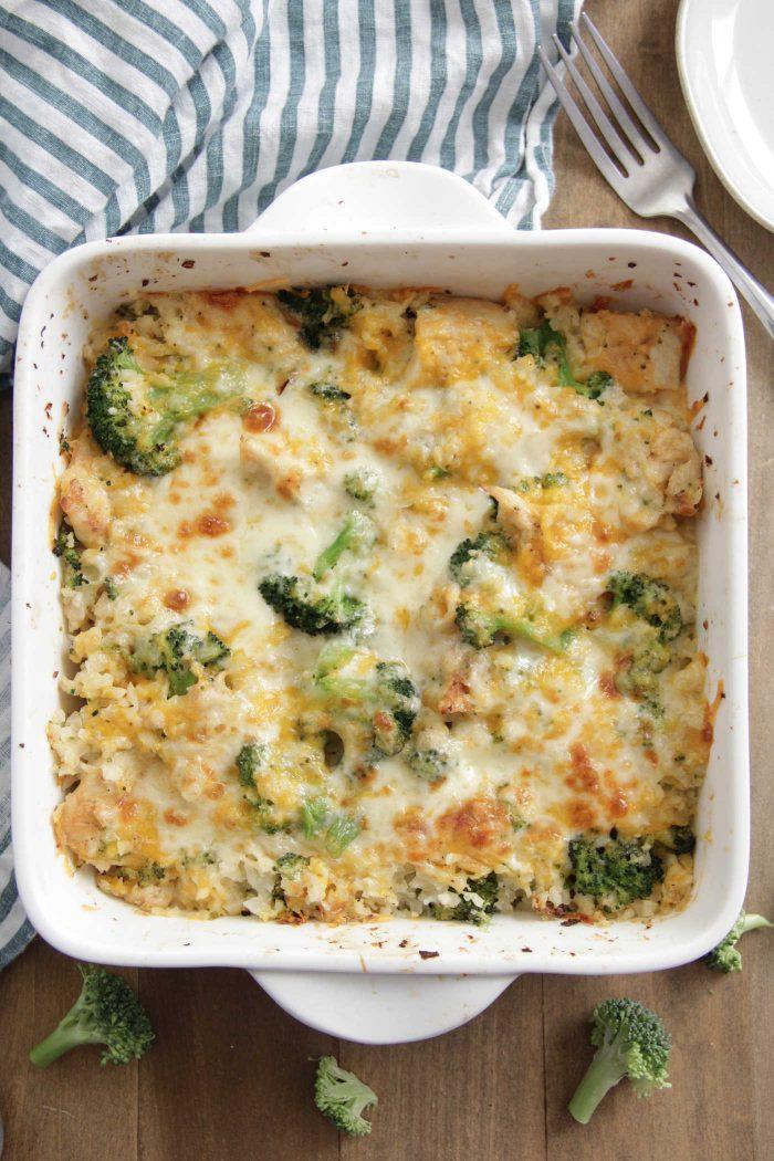 Chicken Broccoli Cauliflower Casserole overhead shot in a baking dish