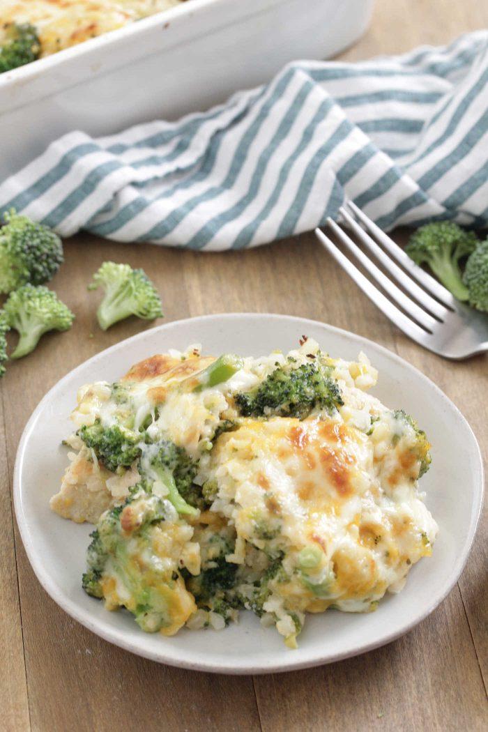 Chicken Broccoli Cauliflower Casserole on a white plate
