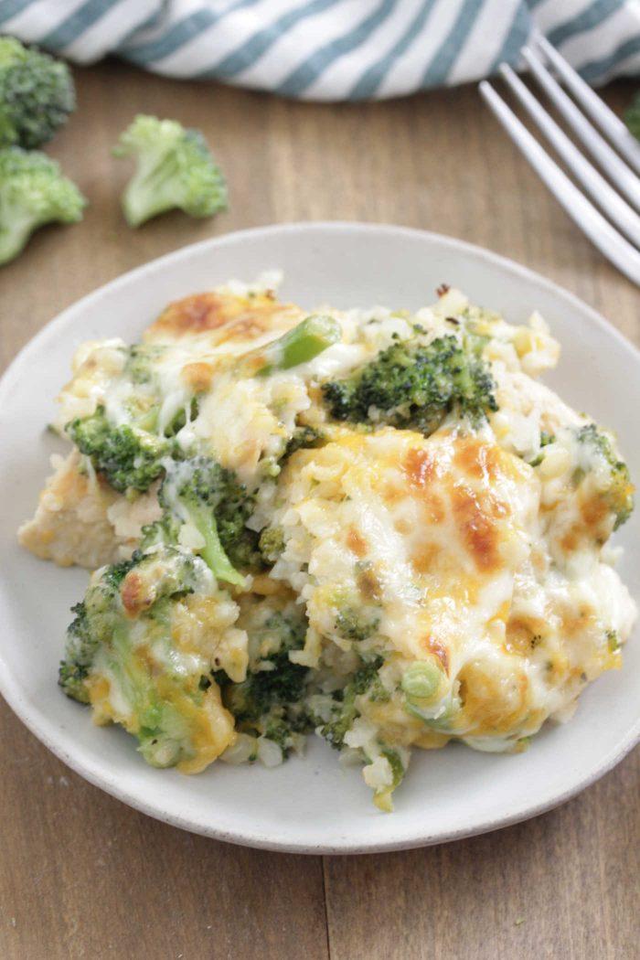 Chicken Broccoli Cauliflower Casserole close up shot