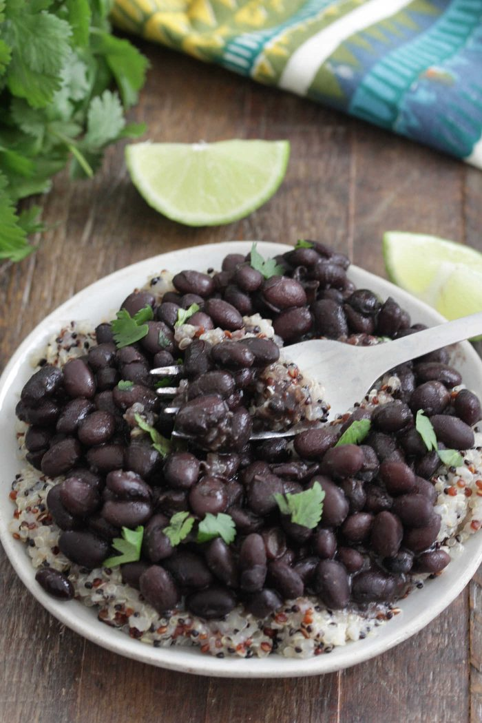 Instant Pot Black Beans with a fork