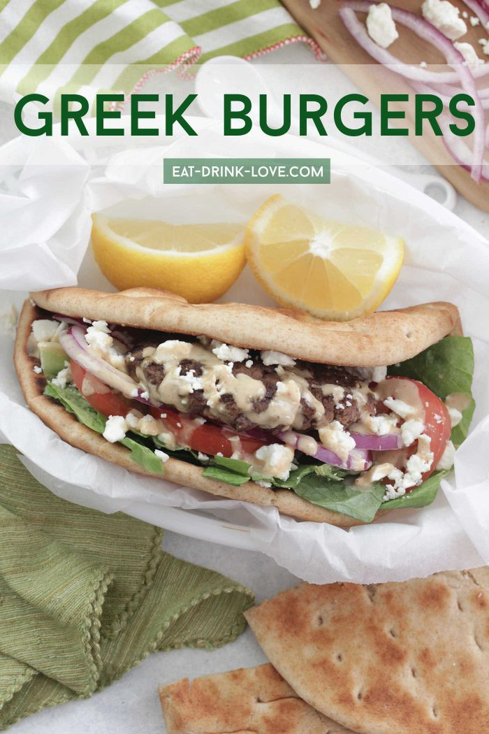 Greek Burgers with feta, red onion, and drizzled with tahini in pita bread