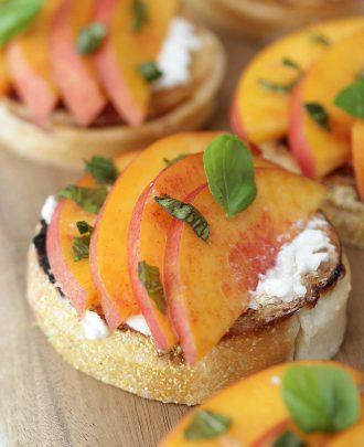 Peach Burrata Toasts