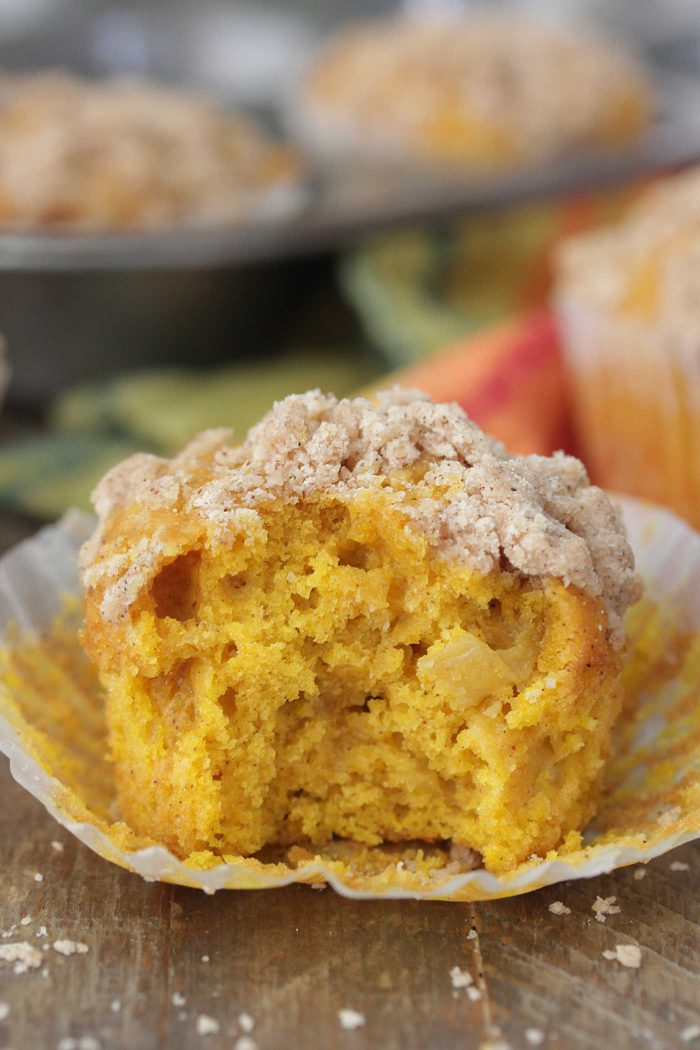 Apple Pumpkin Muffins with a bite taken out
